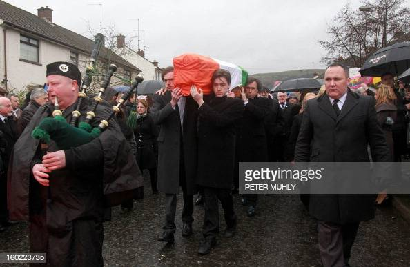 The coffin of convicted Old Bailey bomber Dolours Price is carried by her two sons Danny and Oscar to St Agnes Church in west Belfast Northern...