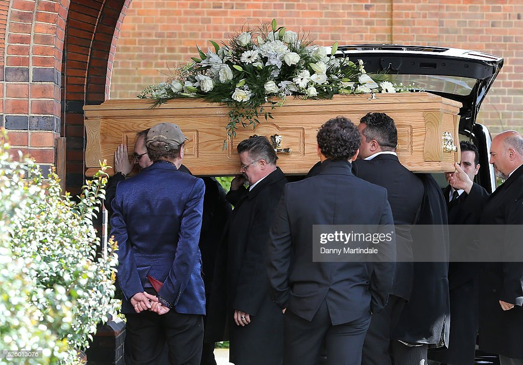 The coffin of David Gest is carried into the church for the funeral of entertainer, producer and reality television star David Gest at Golders Green Crematorium on April 29, 2016 in London, England.