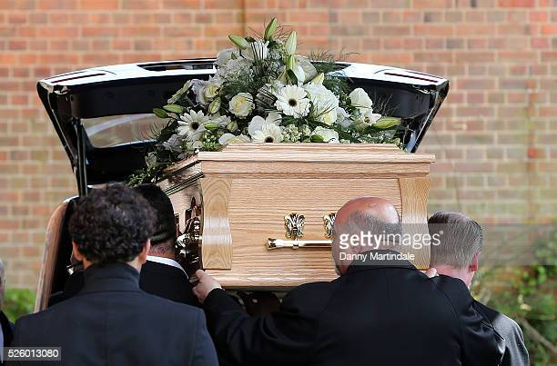 The coffin of David Gest is carried into the church for the funeral of entertainer producer and reality television star David Gest at Golders Green...