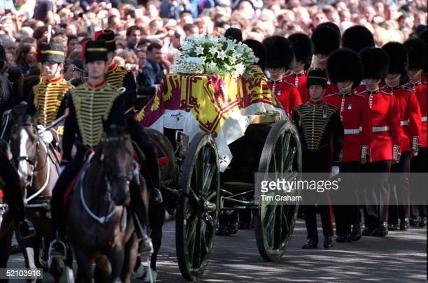 The Coffin Of Diana Princess Of Wales Being Carried Through The Streets Of London On Its Journey To Westminster Abbey