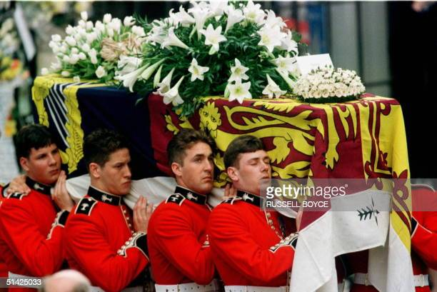 The coffin of Diana Princess of Wales is carried into Westminster Abbey 06 September Hundreds of thousands of mourners lined the streets of central...
