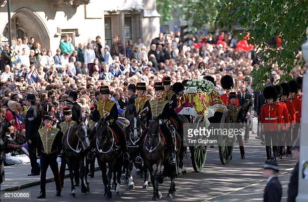 The Coffin Of Diana Princess Of Wales On Its Journey To Westminster Abbey London
