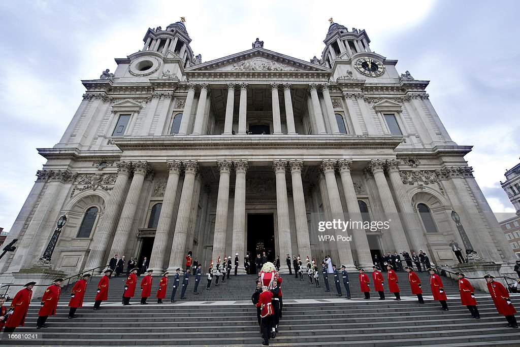 The coffin of former British Prime Minister Margaret Thatcher leaves St Paul's Cathedral on April 17, 2013 in London, England. Dignitaries from around the world today join Queen Elizabeth II and Prince Philip, Duke of Edinburgh as the United Kingdom pays tribute to former Prime Minister Baroness Thatcher during a Ceremonial funeral with military honours at St Paul's Cathedral. Lady Thatcher, who died last week, was the first British female Prime Minister and served from 1979 to 1990.