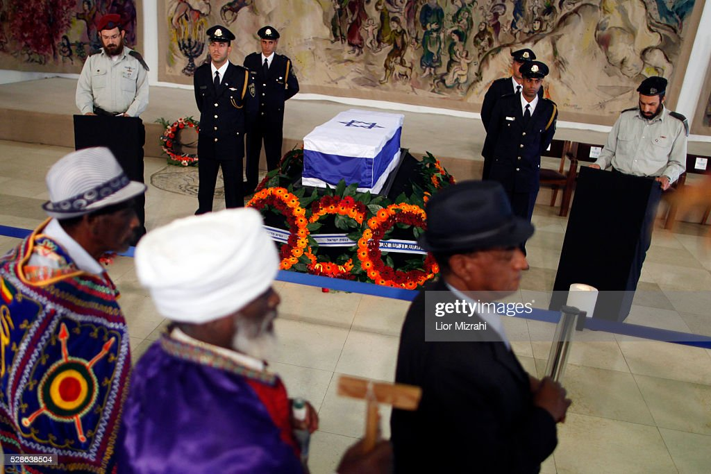 The coffin of former Israeli prime minister Yitzhak Shamir is laid in state at the Knesset on July 02 2012 in Jerusalem Israel