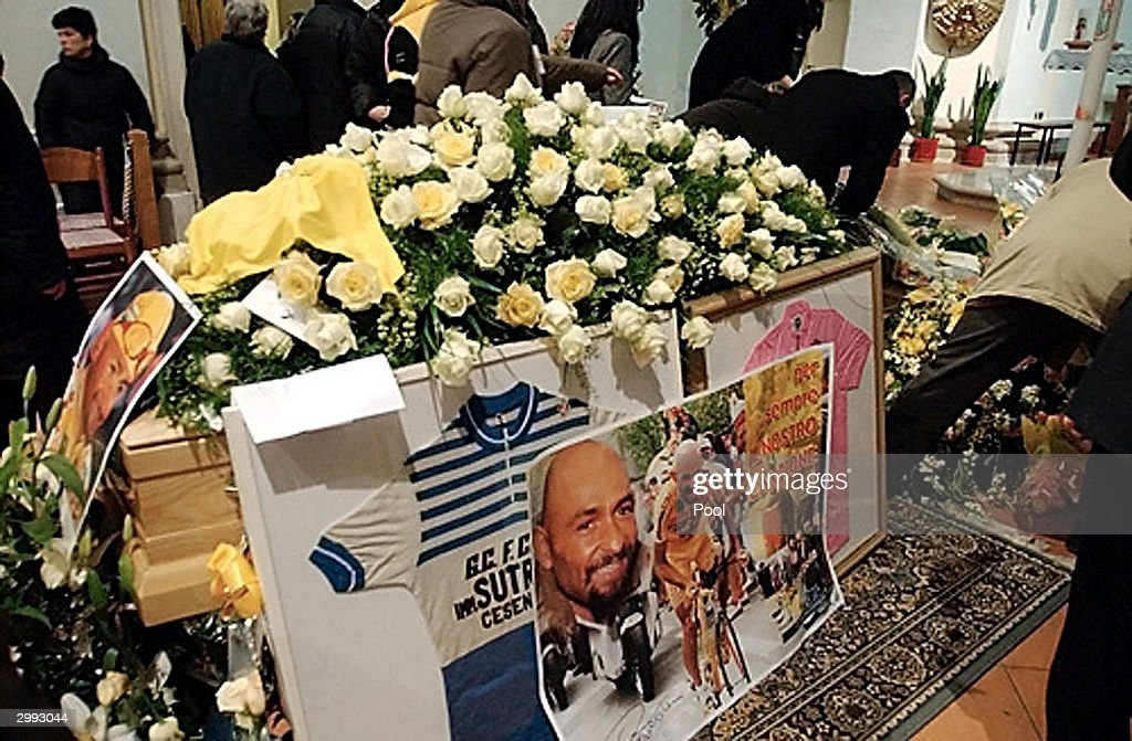 The coffin of former Italian champion cyclist Marco Pantani rests inside the San Giacomo church for his funeral February 18, 2004 in Cesenatico, Italy. Pantani, 34, was found dead February 14 in his hotel room in Rimini, Italy.