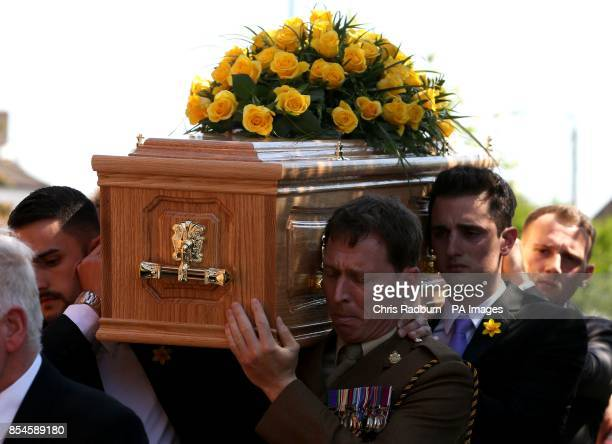 The coffin of former tennis player Elena Baltacha arrives at St Johns Church in Ipswich Suffolk for her funeral service