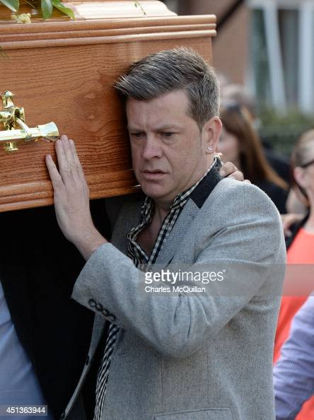 The coffin of Gerry Conlon is carried by Brian Shivers who was accquited of the 2009 murders of two British army soldiers at Masserene barracks in...