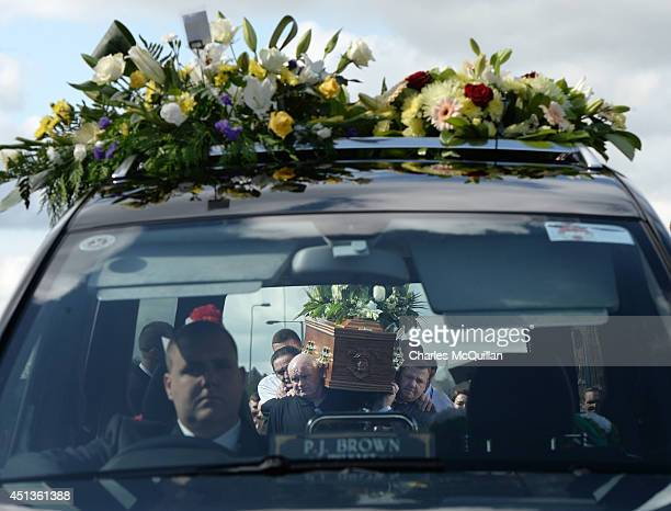 The coffin of Gerry Conlon is carried from his home in Blackwater Way north Belfast by friends to St Peter's Cathedral for a requiem mass on June 28...