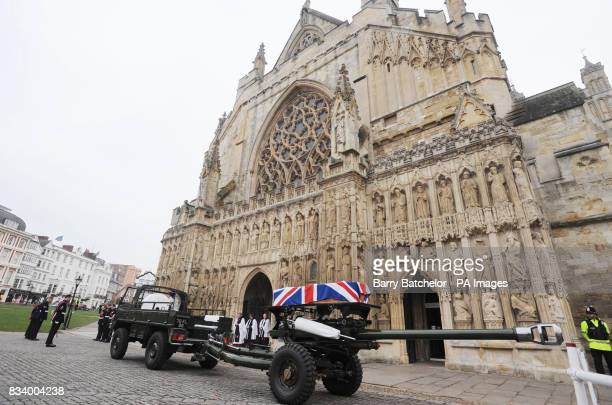 The coffin of Honourable Artillery Company Trooper Jack Sadler arrives at Exeter Cathedral Exeter