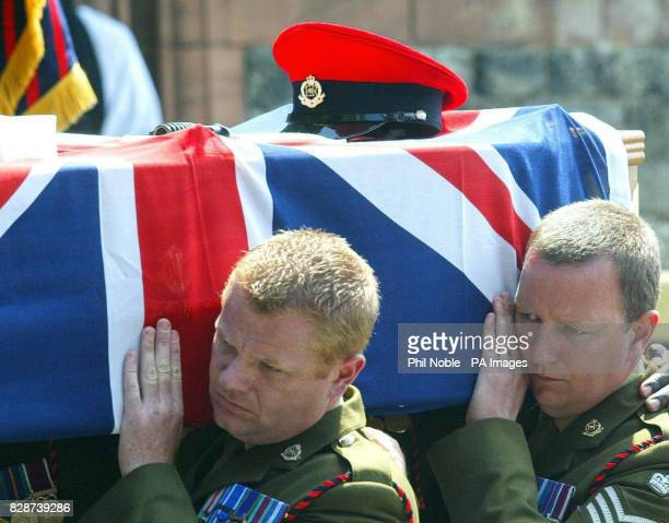 The Coffin of Lance Corporal Thomas Keys is carried into St John's Church in Barmouth Lance Corporal Keys a former paratrooper died four days short...