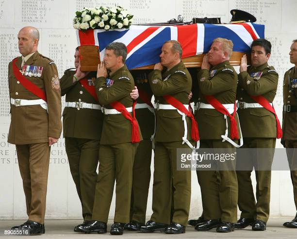 The coffin of Lt Col Thorneloe is taken into Guards Chapel during his funeral on July 16 2009 in London England Lt Col Thorneloe Commanding Officer...