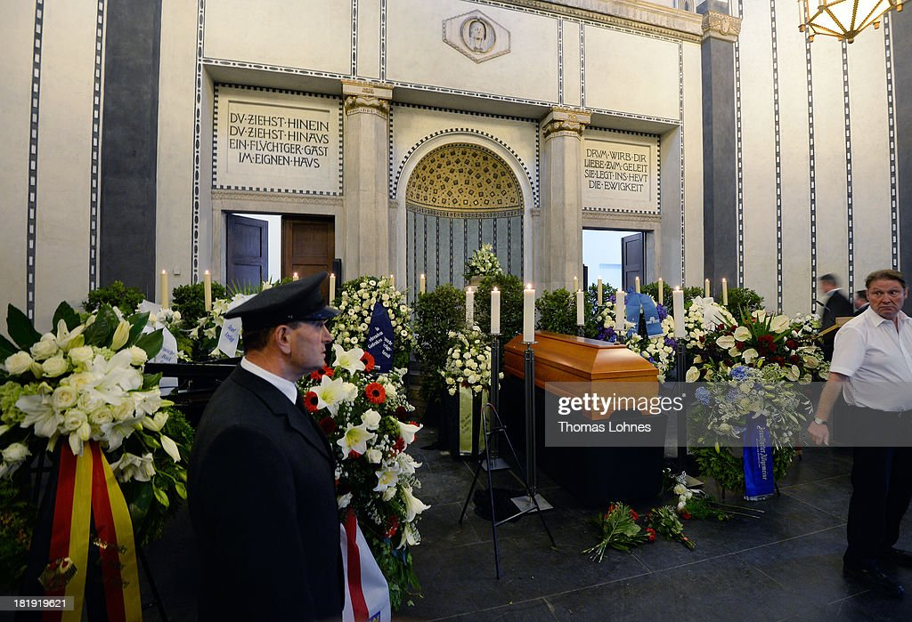 The coffin of Marcel Reich-Ranicki (1920 - 2013) stands after the Funeral service for the literary critic in the mourning hall on September 26, 2013 in Frankfurt am Main, Germany.