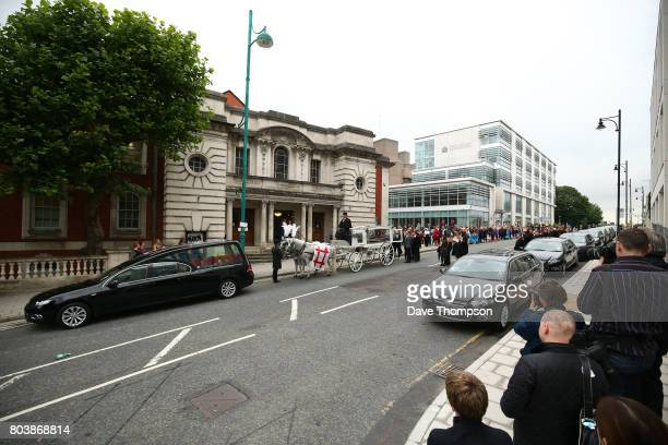 The coffin of Martyn Hett arrives at Stockport Town Hall for his funeral service on June 30 2017 in Stockport England 29 year old Martyn Hett was one...