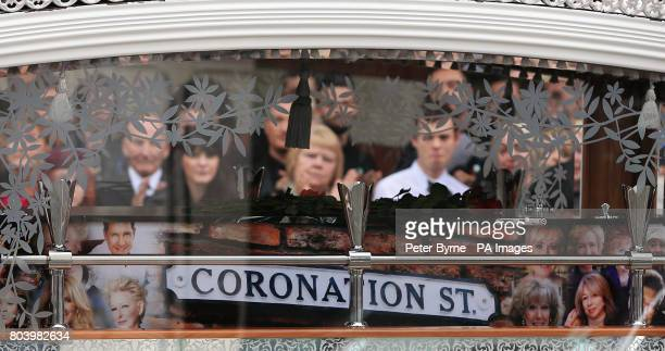 The coffin of Martyn Hett who was killed in the Manchester Arena bombing leaves Stockport Town Hall Plaza following his funeral service