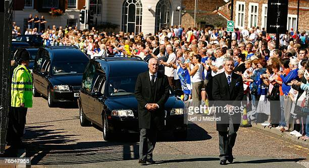The coffin of Rhys Jones arrives at Liverpool Cathedral for the funeral of school boy Rhys Jones on September 6 2007 in Liverpool England 11 year old...