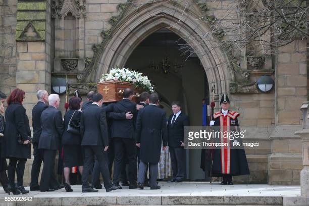 The coffin of Sir Tom Finney arrives at St JohnOtildes Parish Church Preston for his funeral