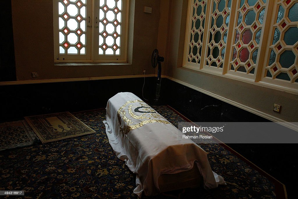 The coffin of Sultan Azlan Shah rests in a corner of Ubudiah Mosque during royal burial ceremony on May 29 2014 in Kuala Kangsar Perak Malaysia...