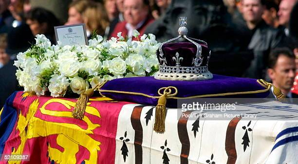 The Coffin Of The Queen Mother With A Wreath From The Queen The Message 'in Loving Memory Lillibet' Signed By The Queen With The Family Name She Uses...