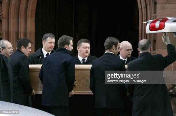 The coffin of tugboat captain Stephen Humphreys after his funeral at Finnart St Paul's Church Greenock