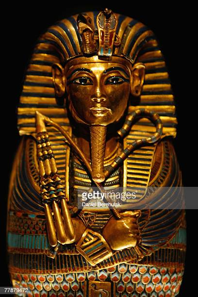 The Coffinette for the Viscera of Tutankhamun on display during the press viewing of the 'Tutankhamun The Golden Age of the Pharaohs' exhibition at...
