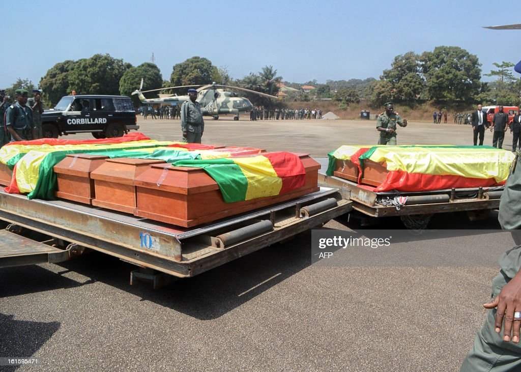 The coffins of the victims of the February 11, 2013 plane crash in the Liberian town of Charlesville arrive on February 12 at an air base outside Conakry. A plane carrying a military delegation from Guinea crashed on February 11 in Charlesville, killing the army chief of staff, General Souleymane Kelefa Diallo, and 10 other people. The plane was carrying the delegation to attend an armed forces day in Liberia, which holds ceremonies each year to recognize its military and often invites officers from neighbouring countries, including Guinea.