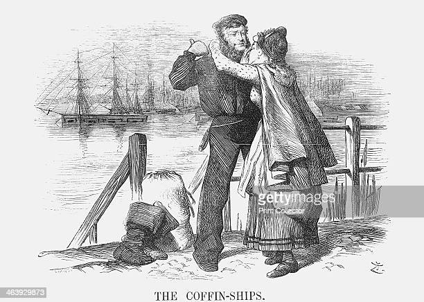 'The CoffinShips' 1873 Jack Tar is embraced by his lover as he prepares to board his ship This relates to recent agitation on the part of Samuel...
