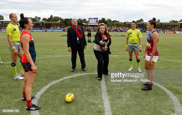 The coin is tossed during the 2017 AFLW Round 01 match between the Melbourne Demons and the Brisbane Lions at Casey Fields on February 5 2017 in...