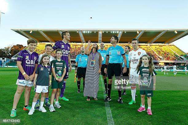 The coin toss during the round 19 ALeague match between Perth Glory and Brisbane Roar at nib Stadium on February 28 2015 in Perth Australia