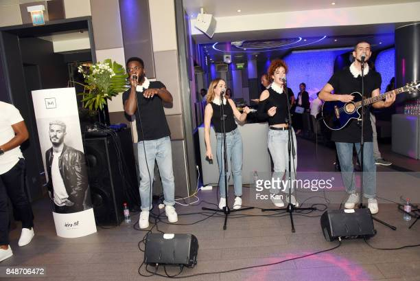 The Col En Fleurs band performs during 'Identik' by M Pokora Launch Party at Duplex Club on September 17 2017 in Paris France