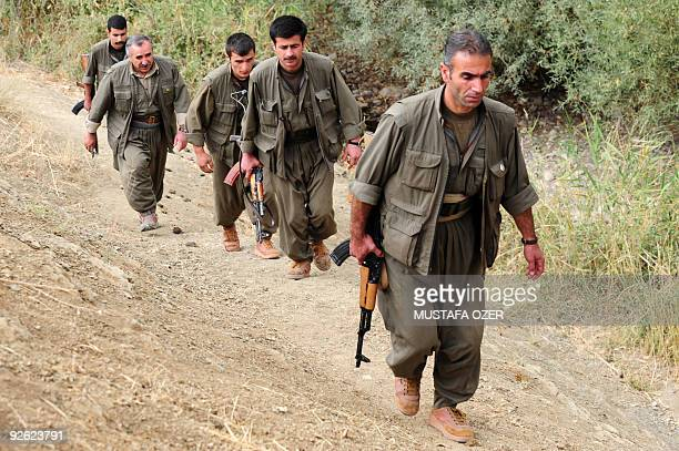 The coleader of the Kurdistan Worker's Party and leader of the Kurdistan Democratic Society the executive council of the PKK Murat Karayilan leaves...