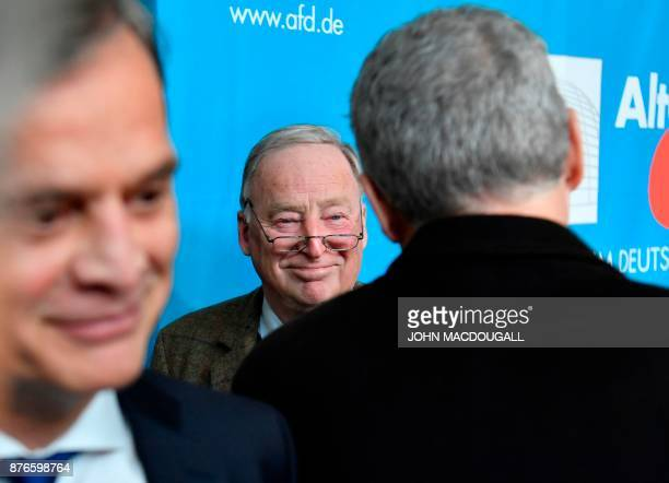 The coleader of the parliamentary group of the Alternative for Germany farright party Alexander Gauland smiles before addressing a statement on...