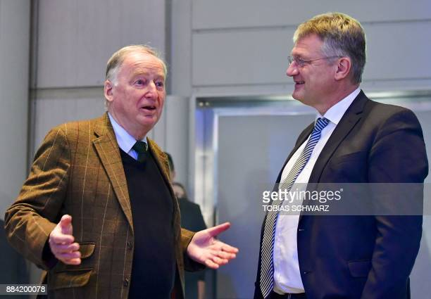 The coleader of the parliamentary group of the Alternative for Germany farright party Alexander Gauland and the chairman of the party Joerg Meuthen...