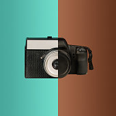 The collage from new and old cameras. The concept of old and new technologies