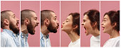 The collage of different human facial expressions, emotions and feelings of young man and woman. The man and woman in profile isolated on pink studio background. Human emotions, facial expression conc