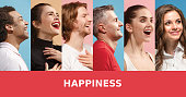 The collage of faces of surprised people on colored backgrounds. Happy men and women smiling. Human emotions, facial expression concept. collage of different human facial expressions, emotions, feelin