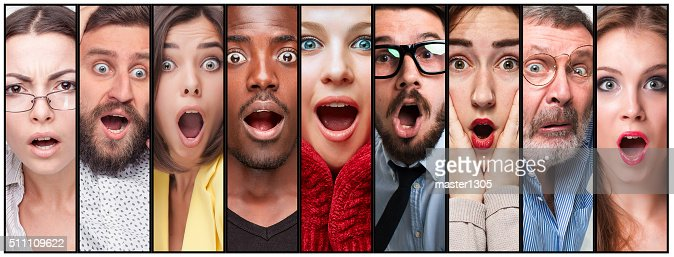 El Collage de hombre joven y mujer expresiones de la cara : Foto de stock
