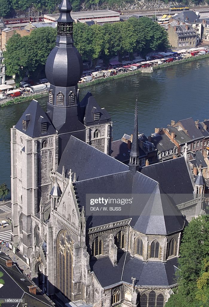 The collegiate church of NotreDame in Dinant city centre Belgium