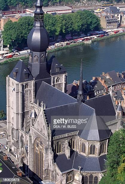 The collegiate church of NotreDame in Dinant city centre Belgium