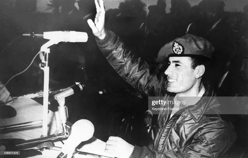 The Colonel and head of the Libyan state Moammar El Gaddafi greeted the crowd for the first time since he had overthrown the Libyan monarchy On November 14, 1969.