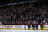 The Colorado Avalanche and fans honor Alex Tanguay of the Colorado Avalanche as he prepares to skate in his 1000th career NHL game against the...