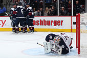 The Colorado Avalanche celebrate a goal against goalie Sergei Bobrovsky of the Columbus Blue Jackets at Pepsi Center on October 24 2015 in Denver...