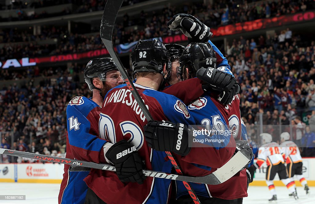 The Colorado Avalanche celebrate a goal by David Jones #54 of the Colorado Avalanche in the second period against the Calgary Flames at the Pepsi Center on February 28, 2013 in Denver, Colorado. The Avalanche defeated the Flames 5-4.