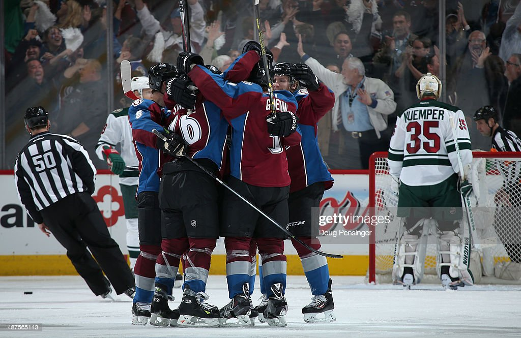 The Colorado Avalanche celebrate as Paul Stastny #26 of the Colorado Avalanche scores against goalie Darcy Kuemper #35 of the Minnesota Wild to take a 3-2 lead in the third period in Game Seven of the First Round of the 2014 NHL Stanley Cup Playoffs at Pepsi Center on April 30, 2014 in Denver, Colorado. The Wild defeated the Avalanche 5-4 in overtime to win the series.