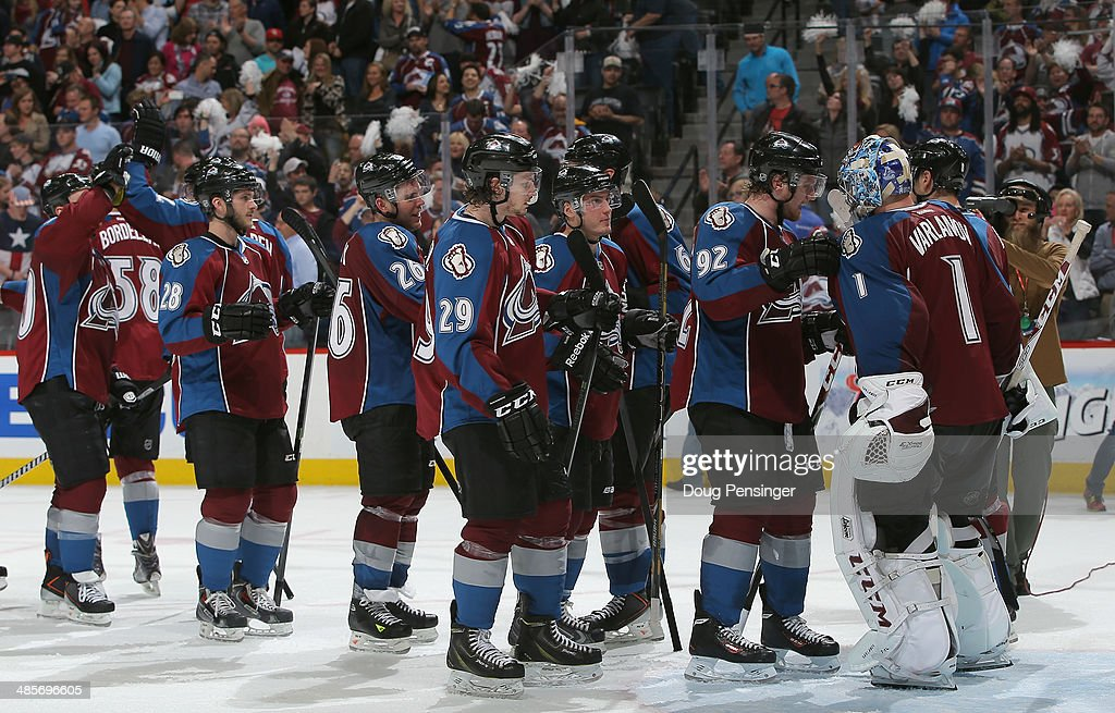 The Colorado Avalanche celebrate their 4-2 victory over the Minnesota Wild in Game Two of the First Round of the 2014 NHL Stanley Cup Playoffs at Pepsi Center on April 19, 2014 in Denver, Colorado. The Avalanche hold a 2-0 games lead in the series.