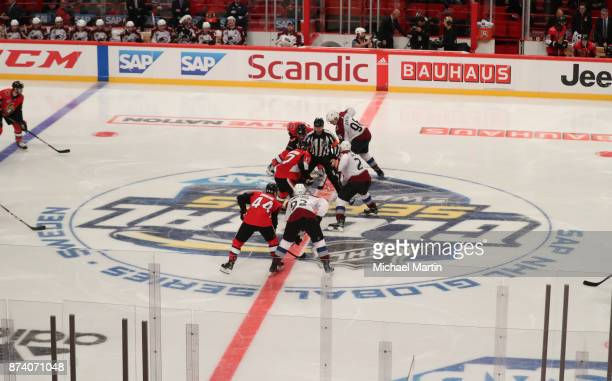 The Colorado Avalanche face off against the Ottawa Senators at the Ericsson Globe on November 11 2017 in Stockholm Sweden