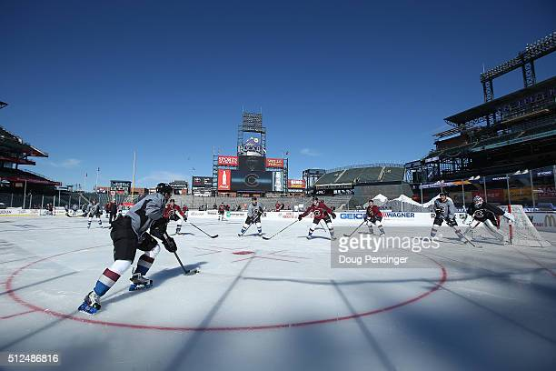 The Colorado Avalanche skate during a practice session on the eve of their game versus the Detroit Red Wings at the 2016 Coors Light Stadium Series...