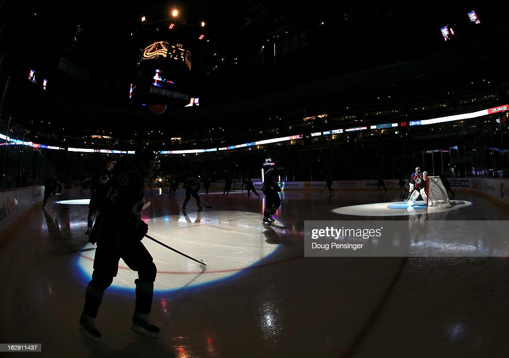 The Colorado Avalanche take the ice to face the Calgary Flames at the Pepsi Center on February 28, 2013 in Denver, Colorado. The Avalanche defeated the Flames 5-4.