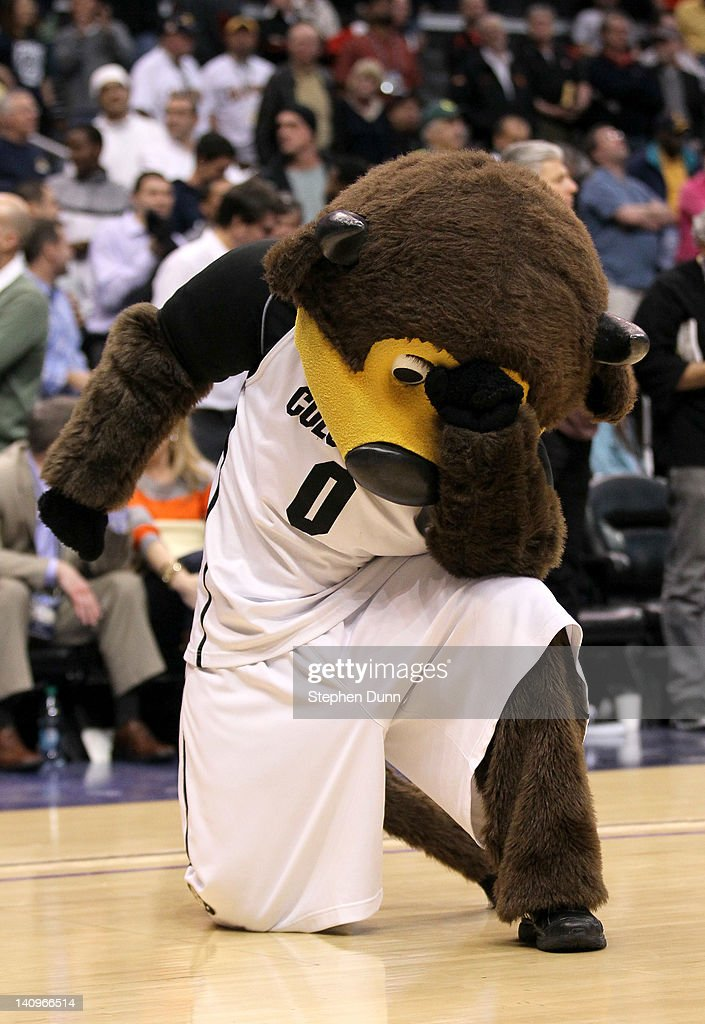 The Colorado Buffaloes mascot Tebows on the court during a time out before the final play of the game against the Oregon Ducks during the quarterfinals of the Pac12 Men's Basketball Tournament at Staples Center on March 8, 2012 in Los Angeles, California. Colorado won 63-62.