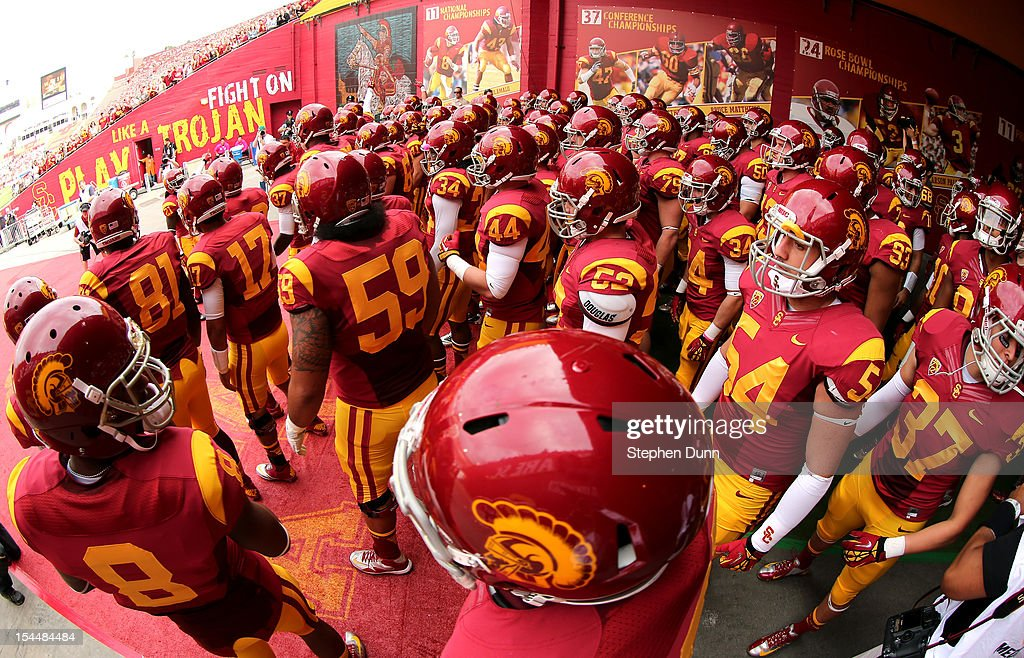 The USC Trojans gather in the tunnel before taking the field for the game with the Colorado Buffaloes at the Los Angeles Memorial Coliseum on October 20,2012 in Los Angeles, California. USC won 50-6. (Photo by Stephen Dunn/Getty Images)LOS ANGELES, CA - OCTOBER 20: the Colorado Buffaloes the USC Trojans at the Los Angeles Memorial Coliseum on October 20,2012 in Los Angeles, California.