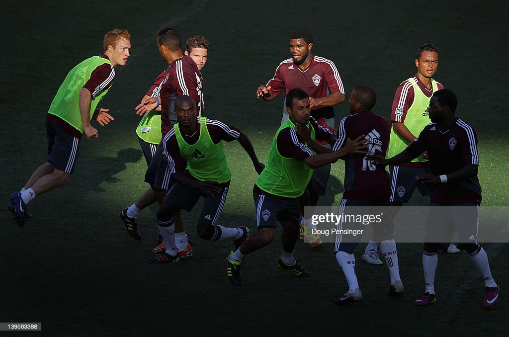 The Colorado Rapids run a drill during a training session at the Aloha Stadium on February 22, 2012 in Honolulu, Hawaii. The Rapids are preparing for the Hawaiian Islands Invitational Soccer Tournament.